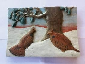 Relief Carved & Painted Snow Scene with 2 Ruff Grouse