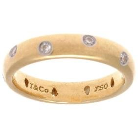 Tiffany & Co. Etoile Diamond Gold Platinum Ring