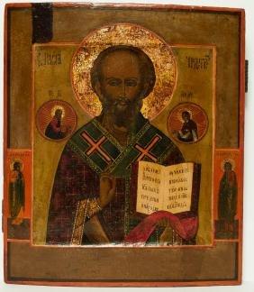Saint Nicholas Russian Icon. 19th C