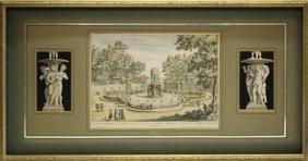 "Antique Hand-colored Etching, ""fontana Superiore"""