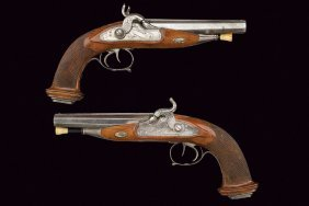 A Pair Double Barrelled Rifled Percussion Pistols