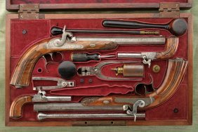 A Cased Set Of Four Percussion Pistols