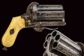 A Fine Pin-fire Pepperbox Revolver