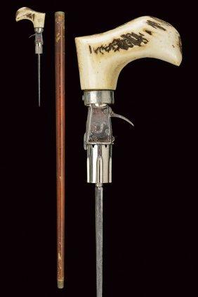 A Very Scarce Six-shot Pin-fire Cane Gun With Stiletto