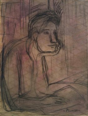 Pablo Picasso Drawing Mixed Media (attrib 1881- 1973)