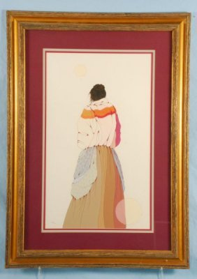 Framed Diane O'Leary Indian Painting