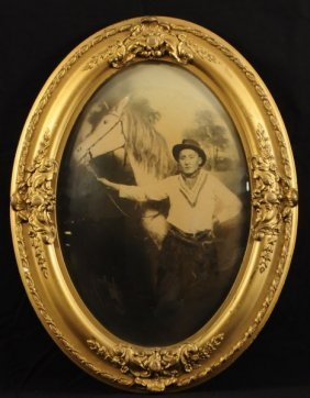 Cowboy & Horse Photo In Domed Glass Frame