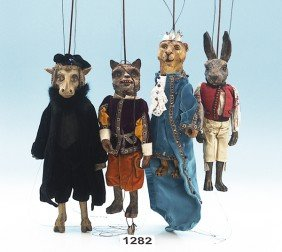 4 Stabmarionetten-Puppen