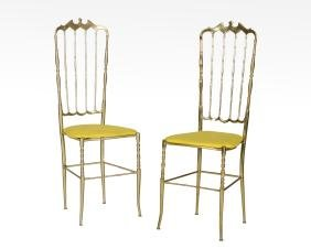 Pair Brass Side Chairs