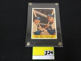 1958 topps #418 Mickey Mantle and Hank Aaron World