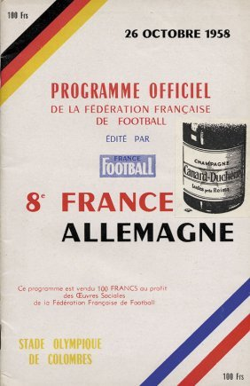 Football Programme 1958. France V Germany