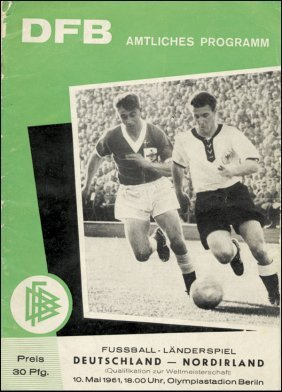 Football Programme1961 Germany V Northern Ireland
