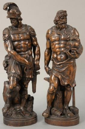 Pair Of Carved Walnut Greek Warriors, Possibly Black