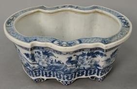 Chinese Blue And White Porcelain Bat Shaped Planter On