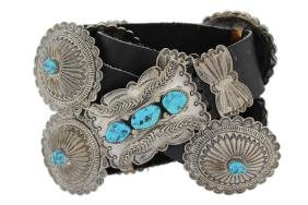 Sterling Silver Genuine Turquoise Masterpiece Concho