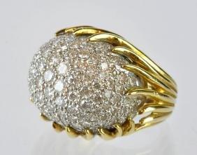 Jose Hess 18kt Gold & Diamond Dome Shaped Ring