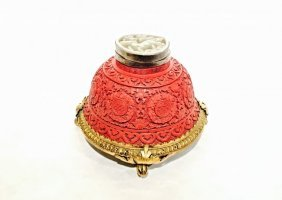 Cinnabar And Jade Antique Mounted Inkwell