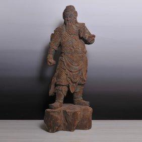 Ming Dynasty, A Wood Carved 'god Of Wealth' Sculpture