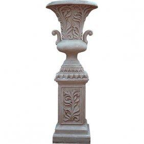 Leaf Handle Urn On Pedestal