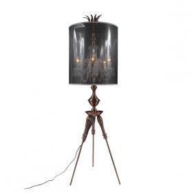 Copper Crystal Tripod Lamp