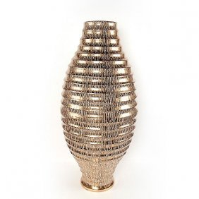 Golden Drizzle Ribbed Vase
