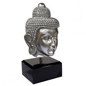 Lg Buddha Head On Stand - Sil