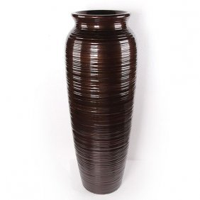 Copper Ribbed Vase Free Shipping