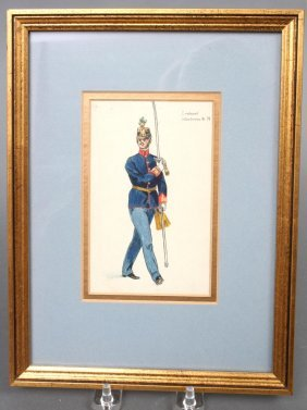 French Militaria Watercolor 19th C.