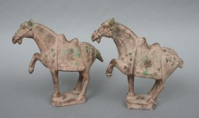 Pair Han Style Chinese Pottery Horses