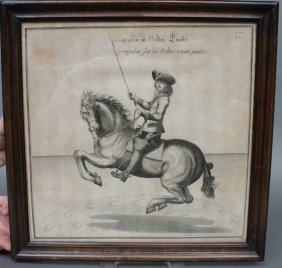 Trio Of 18th C. Equestrian Or Dressage Horse Print
