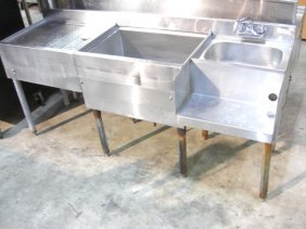 S/S Bar Drainboard, Ice Bin, Sink & Blender Station