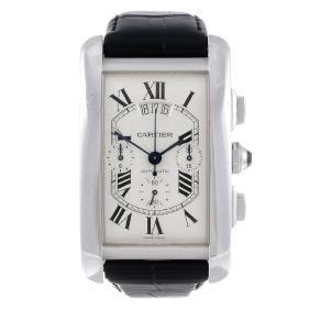 Cartier - A Tank Americaine Xl Chronograph Wrist Watch.