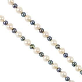A Cultured Pearl Necklace. Designed As An Alternating