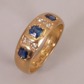 Victorian 18ct Gold Sapphire And Diamond Half Hoop