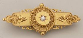 Victorian 15ct Gold Diamond Bar Brooch, The Centra
