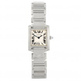 A Stainless Steel Quartz Lady's Cartier Tank Franca