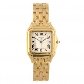 An 18k Gold Quartz Gentleman's Cartier Panthere Bra