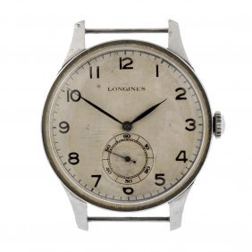A Stainless Steel Manual Wind Gentleman's Longines