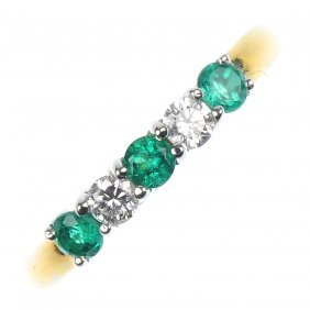 An 18ct Gold Emerald And Diamond Five-stone Ring.