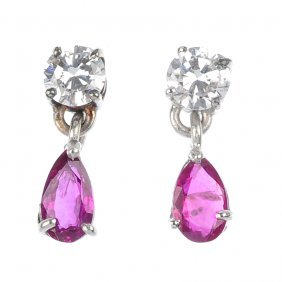 A Pair Of Ruby And Diamond Ear Pendants.