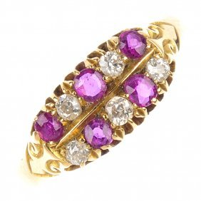 An Early 20th Century 18ct Gold Ruby And Diamond Ri