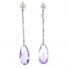 A Pair Of Amethyst, Diamond And Cultured Pearl Ear