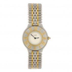 A Bi-colour Quartz Must De Cartier Bracelet Watch.