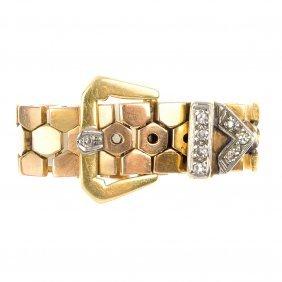 A Diamond Flexible Buckle Ring.