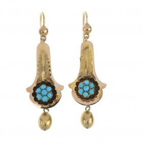 A Pair Of Late 19th Century Gold Turquoise Ear