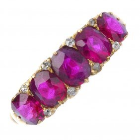 A Late Victorian 18ct Gold Ruby And Diamond Five-stone
