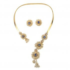 A Sapphire And Diamond Necklace And Earring Set.