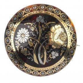 A Late 19th Century Pique Tortoiseshell Brooch.