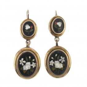 A Pair Of Late 19th Century Gold Pietra Dura Ear