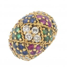 A Diamond, Ruby, Sapphire And Emerald Bombe Ring.